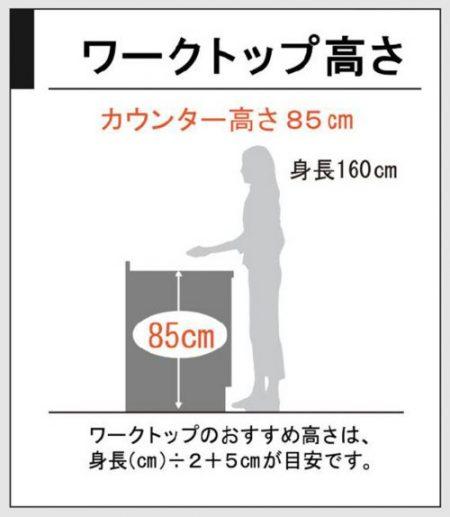 カウンターの高さ85cm